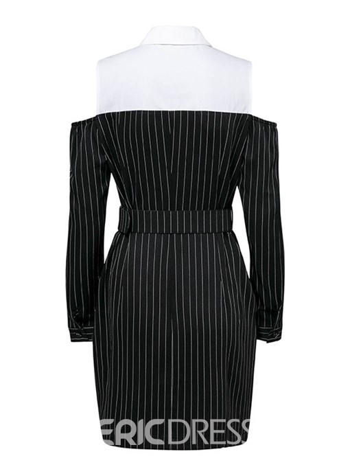 Ericdress Polo Neck Patchwork Color Block Stripe OL Dress