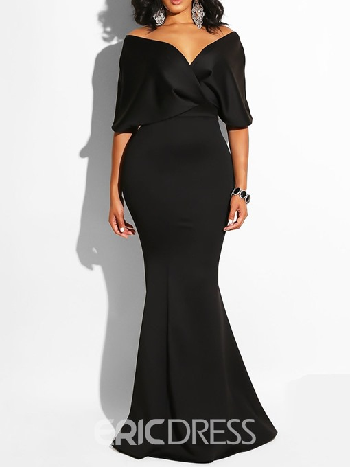 Ericdress V-Neck Floor-Length Pullover Bodycon Mermaid Dress