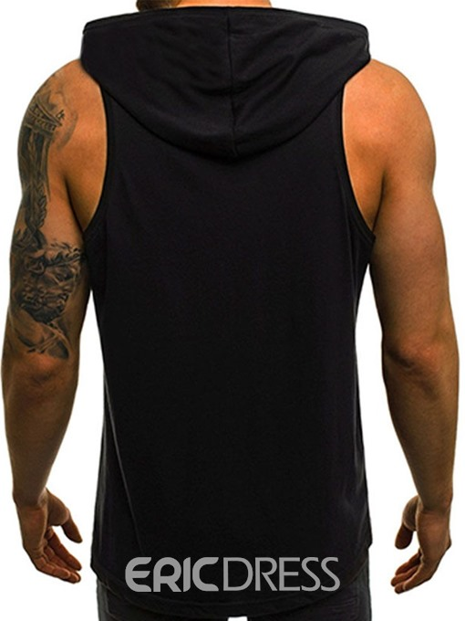 Ericdress Print Hooded Color Block Mens Casual Vest