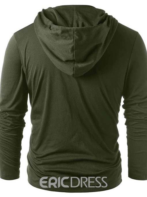 Ericdress Color Block Hooded Casual Slim Mens T-shirt