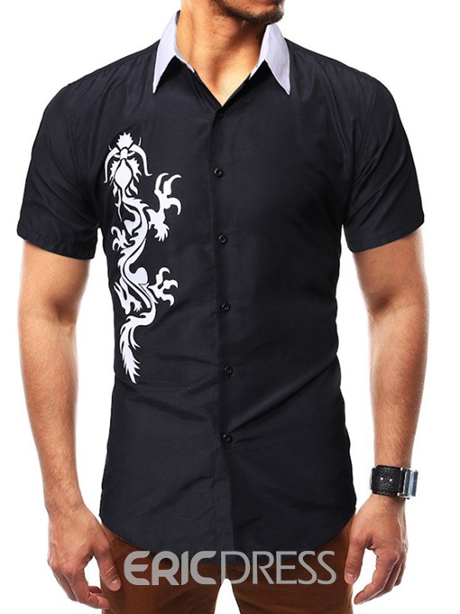 Ericdress Animal Casual Print Slim Mens Single-Breasted Shirt