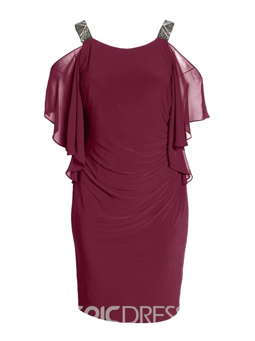 Ericdress Plus Size Batwing Sleeve Cold Shoulder Chiffon Dress