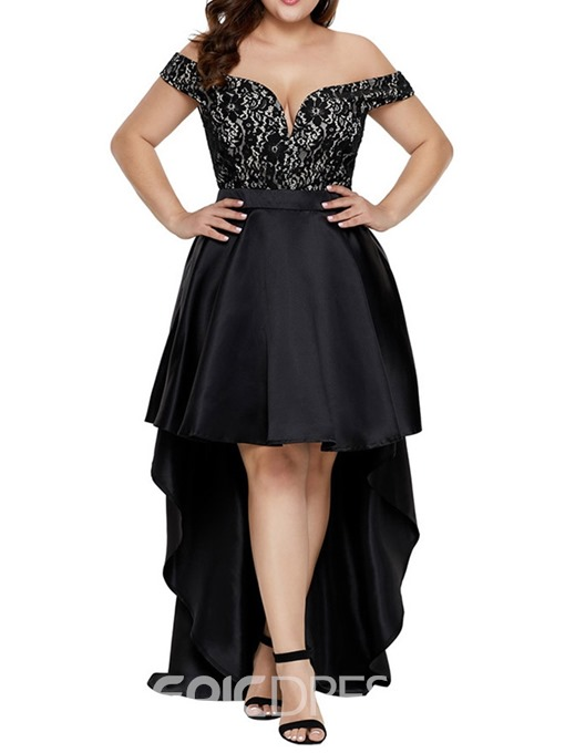 Ericdress Plus Size Short Sleeve Patchwork Floor-Length Swallowtail Asymmetrical Dress