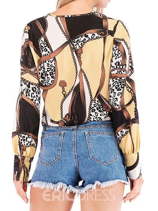 Ericdress Color Block Print V-Neck Sexy Blouse