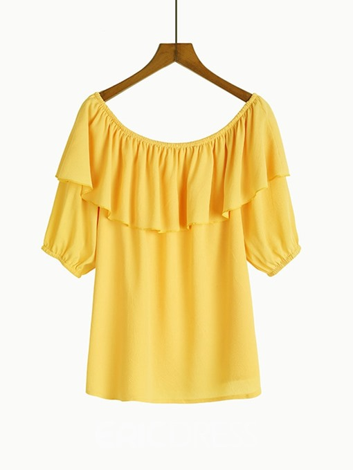 Ericdress Regular Plain Off Shoulder Plus Size Blouse