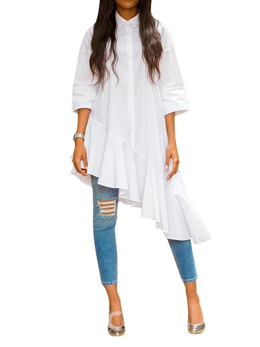 Ericdress Plain Button Three-Quarter Sleeve Long Blouse