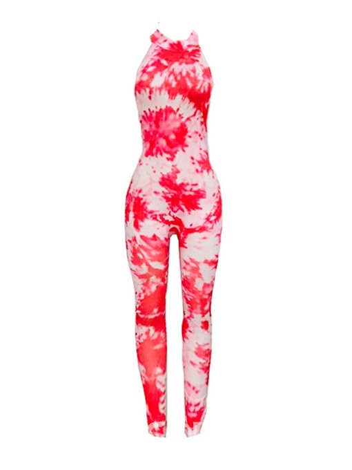 Ericdress Print Color Block Tie-Dye Skinny Jumpsuit