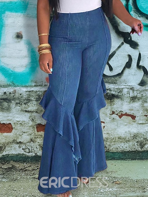 Ericdress Ruffles Bellbottoms Plain Slim Jeans