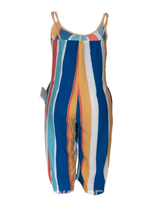 Ericdress Strap Color Block Mid-Calf Loose Jumpsuit