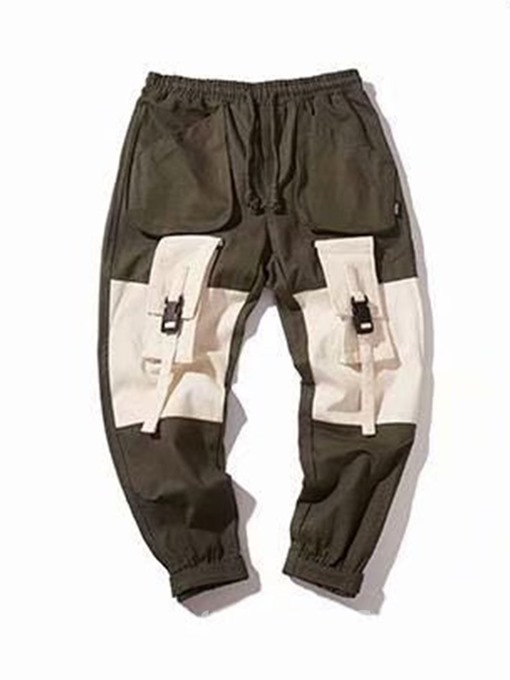 Ericdress Overall Lace-Up Color Block Mens Casual Pants