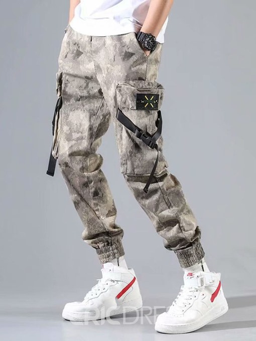 Ericdress Overall Camouflage Pocket Mens Mid Waist Casual Pants