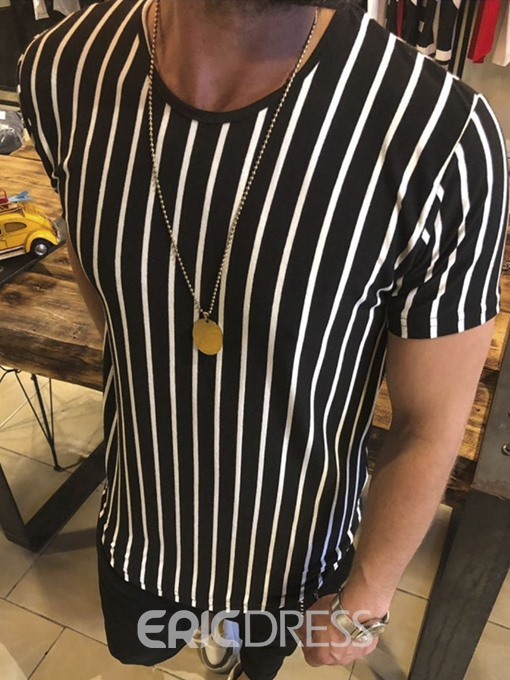 Ericdress Casual Stripe Round Neck Mens Loose T-shirt