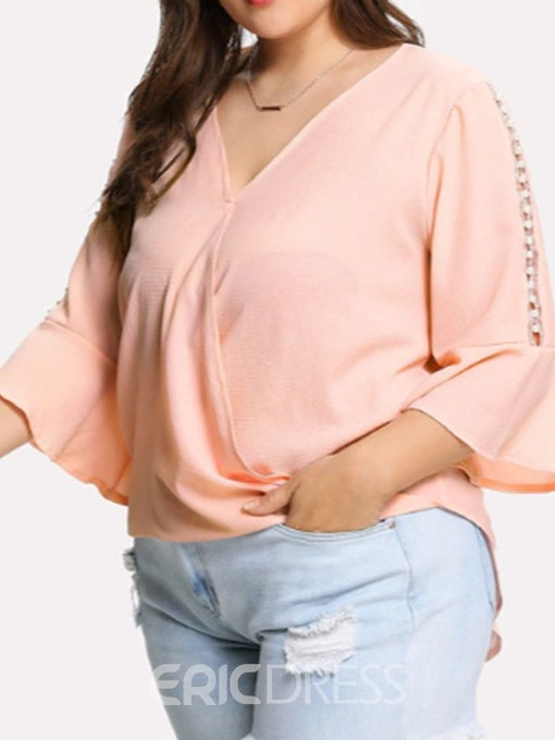 Ericdress Flare Sleeve Plain V-Neck Plus Size Blouse