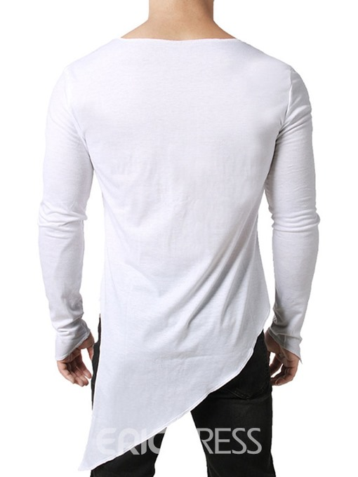 Ericdress Asymmetric Plain Round Neck Loose Mens T-shirt