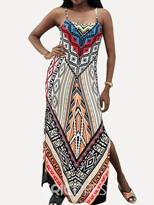 Ericdress African Fashion Sleeveless Ankle-Length Split Dress