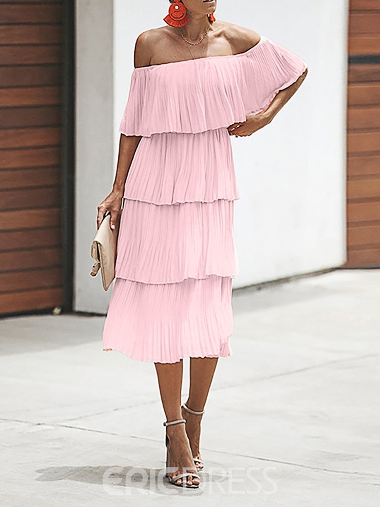 Ericdress Off Shoulder Pleated Mid-Calf Plain Going Out Dress