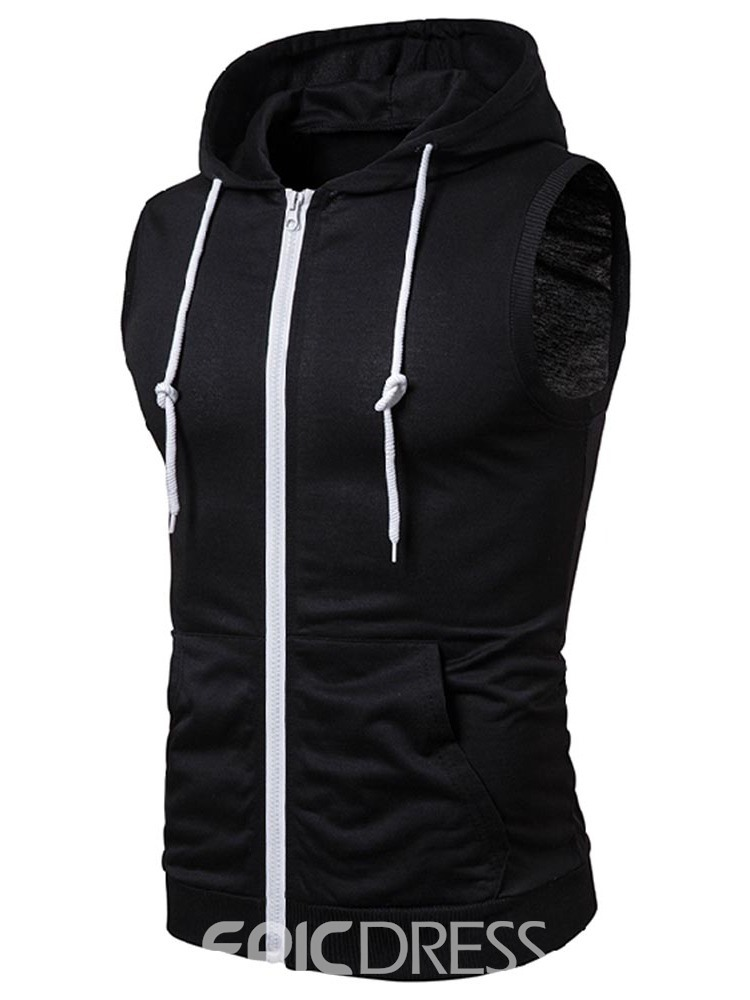 Ericdress Plain Hooded Pocket Zipper Mens Casual Vest