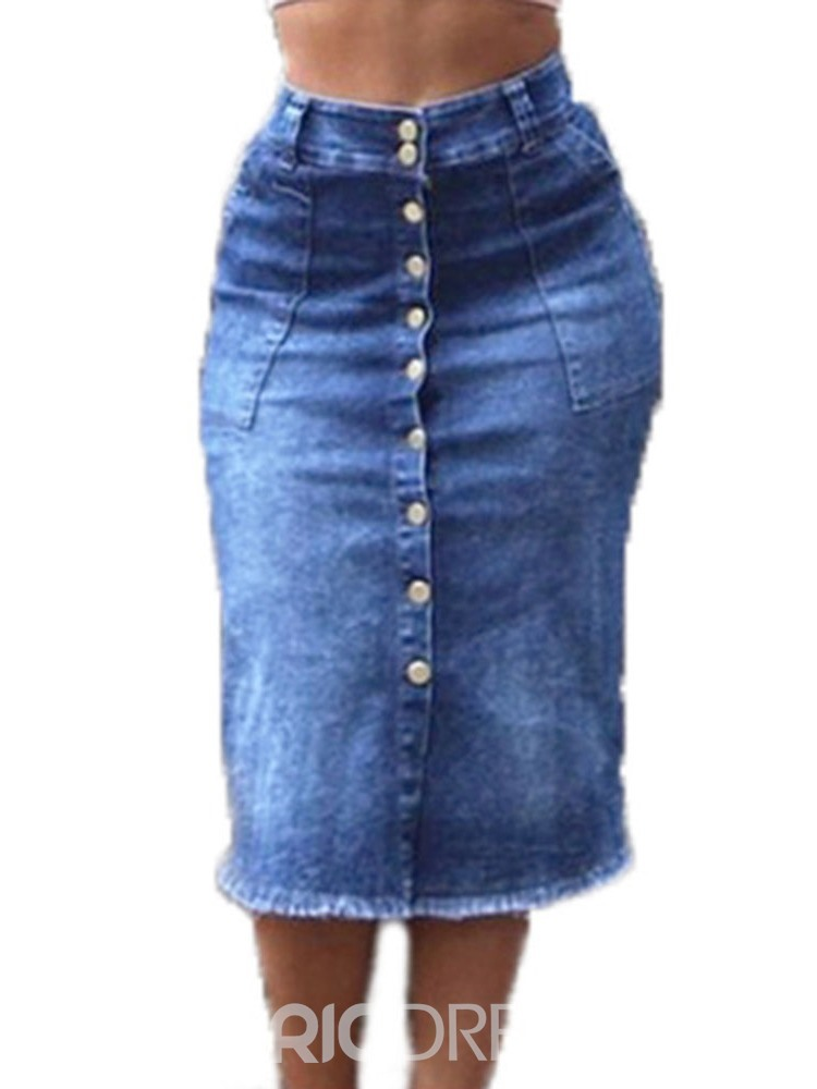 Ericdress A-Line Plain Button Denim Mid-Calf Skirt