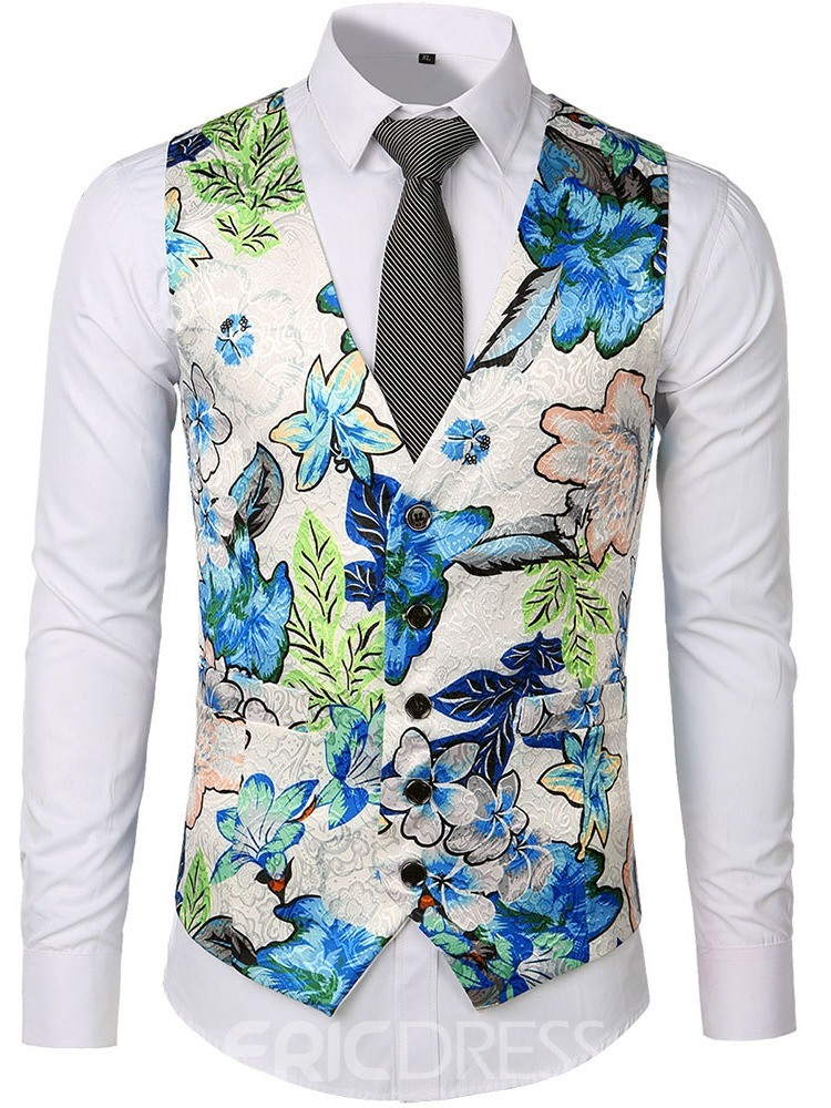 Ericdress Button V-Neck Floral Single-Breasted Mens Waistcoat