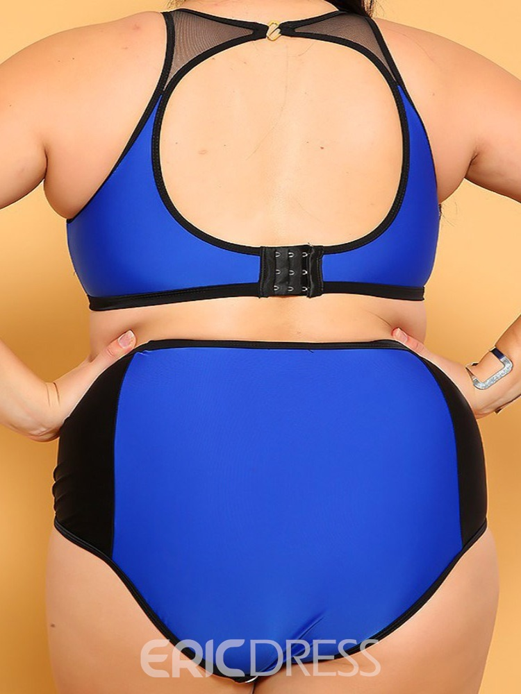 Ericdress Color Block Patchwork Plus Size Stretchy Swimsuit
