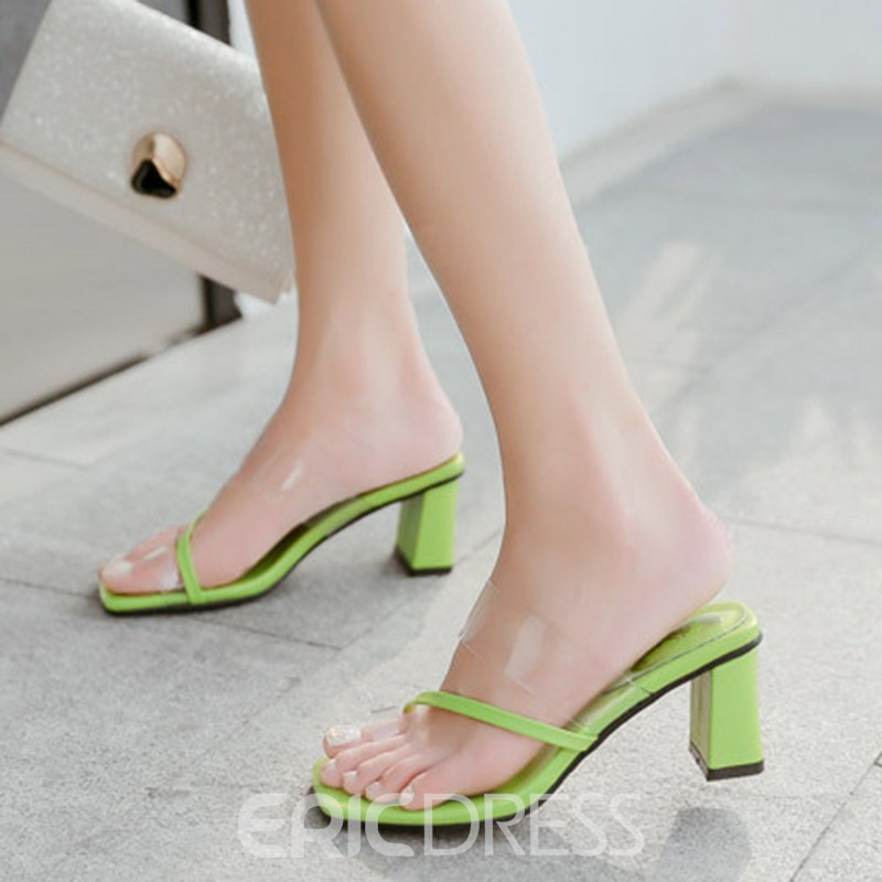 Ericdress PVC Toe Ring Chunky Heel Slip-On Women's Mules Shoes