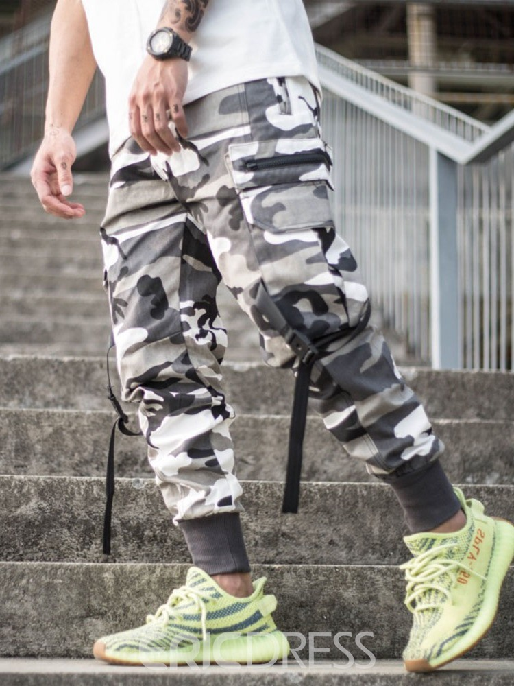 Ericdress Overall Camouflage Button Mens Casual Pants