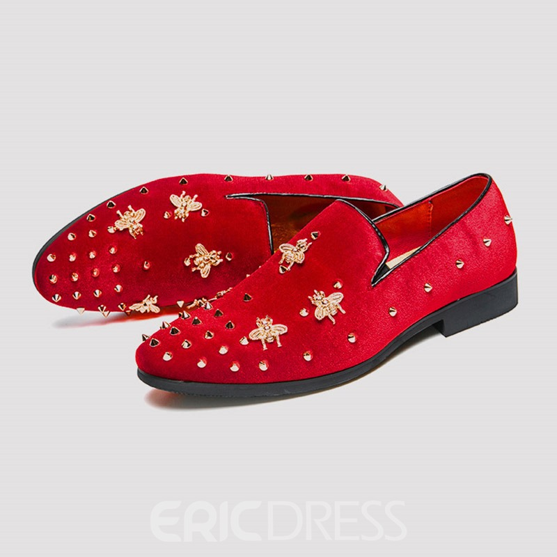 Ericdress Plain Rivet Slip-On Round Toe Men's Dress Shoes