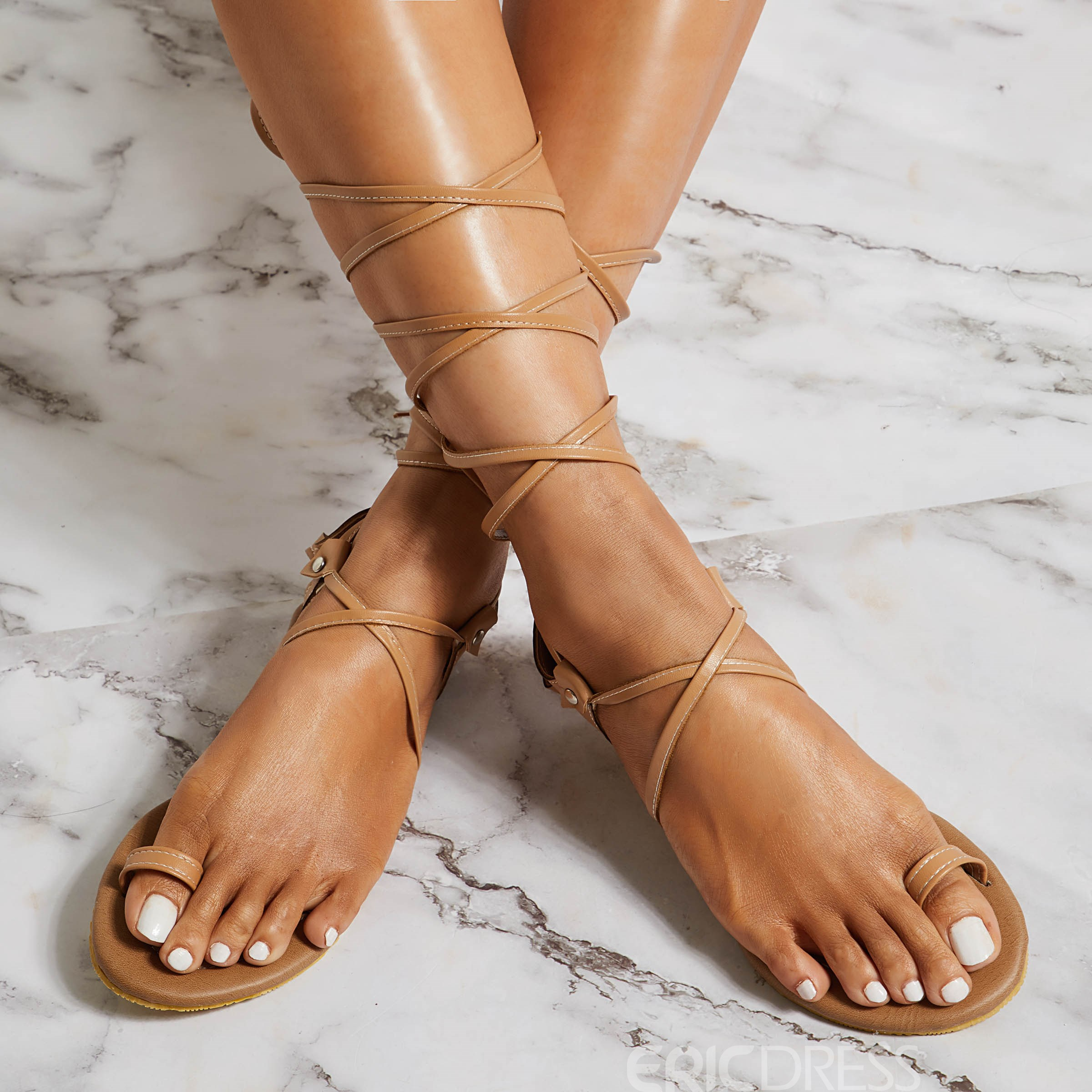 Ericdress PU Toe Ring Lace-Up Women's Sandals