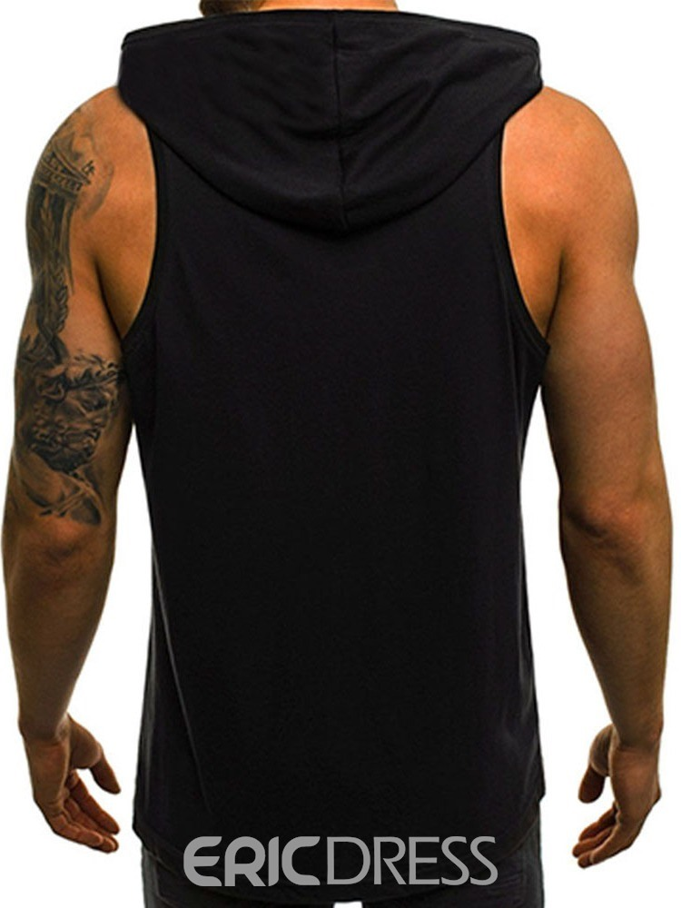 Ericdress Print Loose Hooded Mens Casual Vest