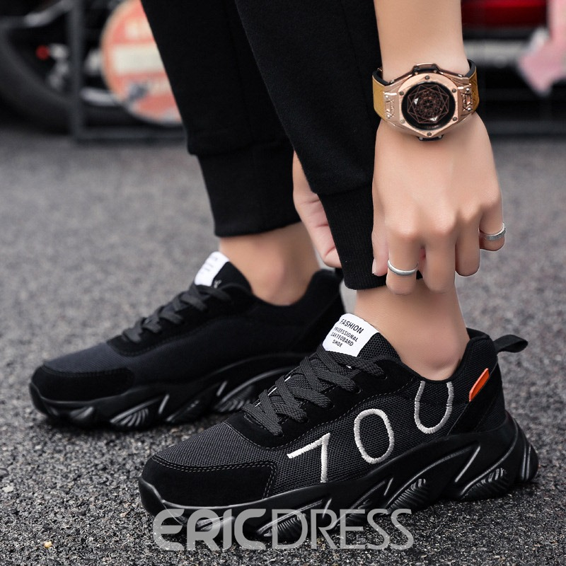 Ericdress Mesh Round Toe Color Block Lace-Up Men's Chic Athletic Shoes