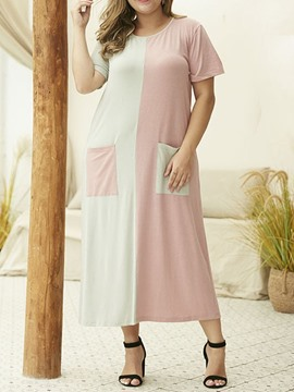 Ericdress Plus Size Round Neck Mid-Calf Short Sleeve Color Block A-Line Dress