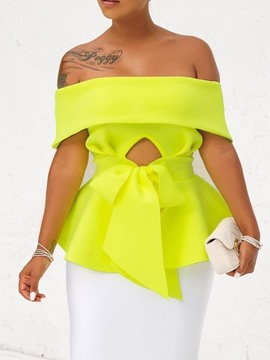 Ericdress Backless Off Shoulder Bowknot Blouse