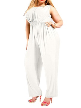 Ericdress Plus Size Plain Slim Full Length Jumpsuit