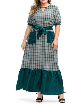 Ericdress Plus Size Patchwork Plaid Pocket Pullover A-Line Dress