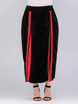 Ericdress Plus Size Bead Asymmetrical Color Block Skirt