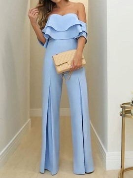 Ericdress Dressy Off Shoulder Falbala Slim Wide Legs Jumpsuit