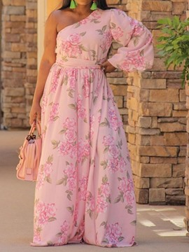 Ericdress Oblique Collar Floor-Length A-Line Floral Floral Dress