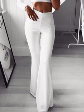 Ericdress Slim White Plain Full Length Casual Flare Pants