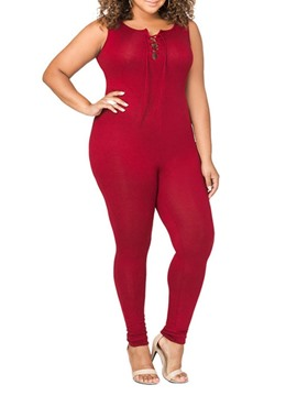 Ericdress Plus Size Plain Lace-Up Slim Jumpsuit