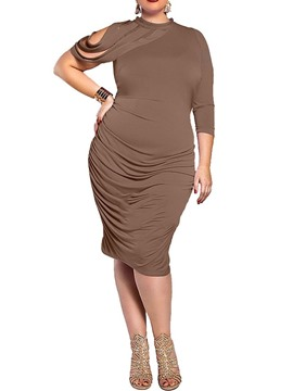 Ericdress Plus Size Round Neck Mid-Calf Asymmetric Fashion Bodycon Dress