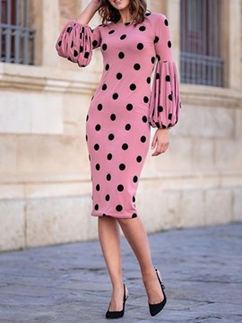 Ericdress Round Neck Print Polka Dots Standard-Waist Lantern Sleeve Dress