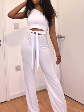 Ericdress Lace-Up White Skinny Plain Dressy Prom Jumpsuit