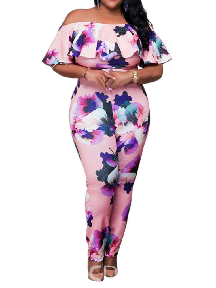 Ericdress Plus Size Office Lady Floral Print Slim Jumpsuit