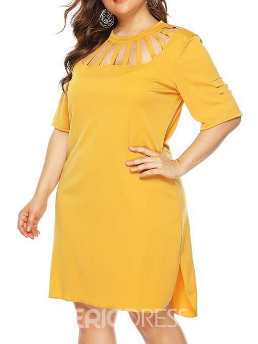 Ericdress Round Neck Half Sleeve Hollow Plus Size Fashion Dress