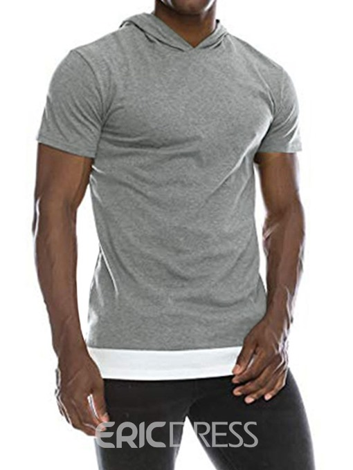 Ericdress Casual Hooded Color Block Mens Loose T-shirt