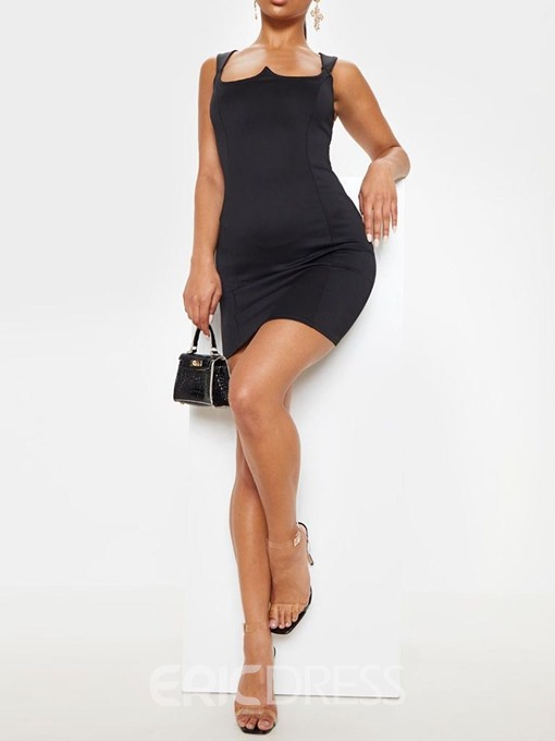 Ericdress Backless Above Knee Bodycon Spaghetti Strap Dress