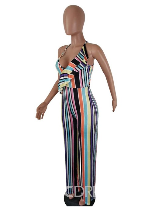 Ericdress Color Block Stripe Ruffles Slim Jumpsuit