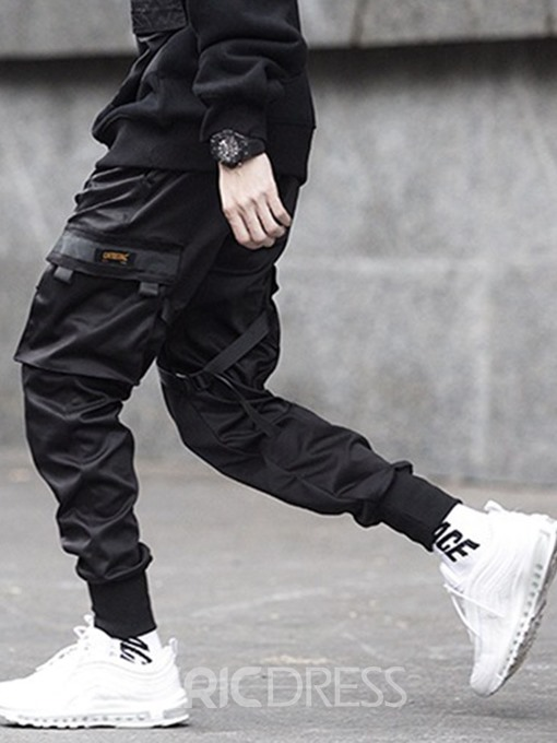 Ericdress Lace-Up Plain Overall Mens Casual Pants