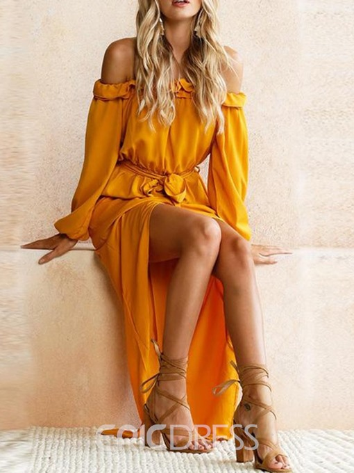 Ericdress Long Sleeve Off Shoulder Ankle-Length Asymmetrical Dress