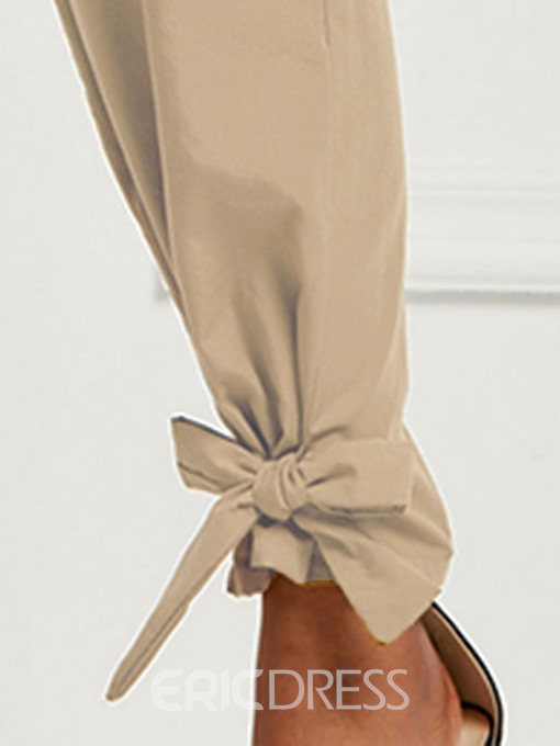 Ericdress Pleated Plain Lace-Up Loose Full Length Mid Waist Pants